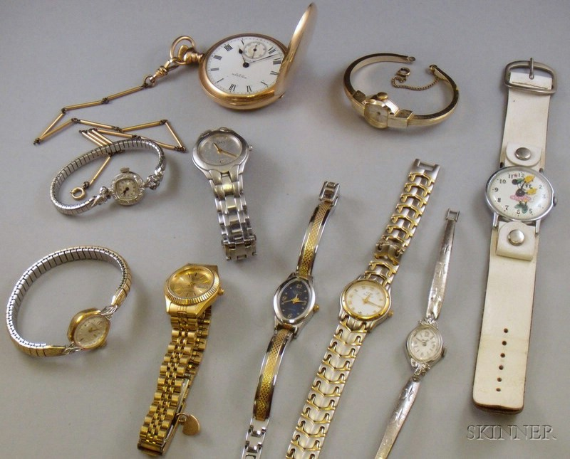 Eight Novelty/Costume Wristwatches, a Gold-filled