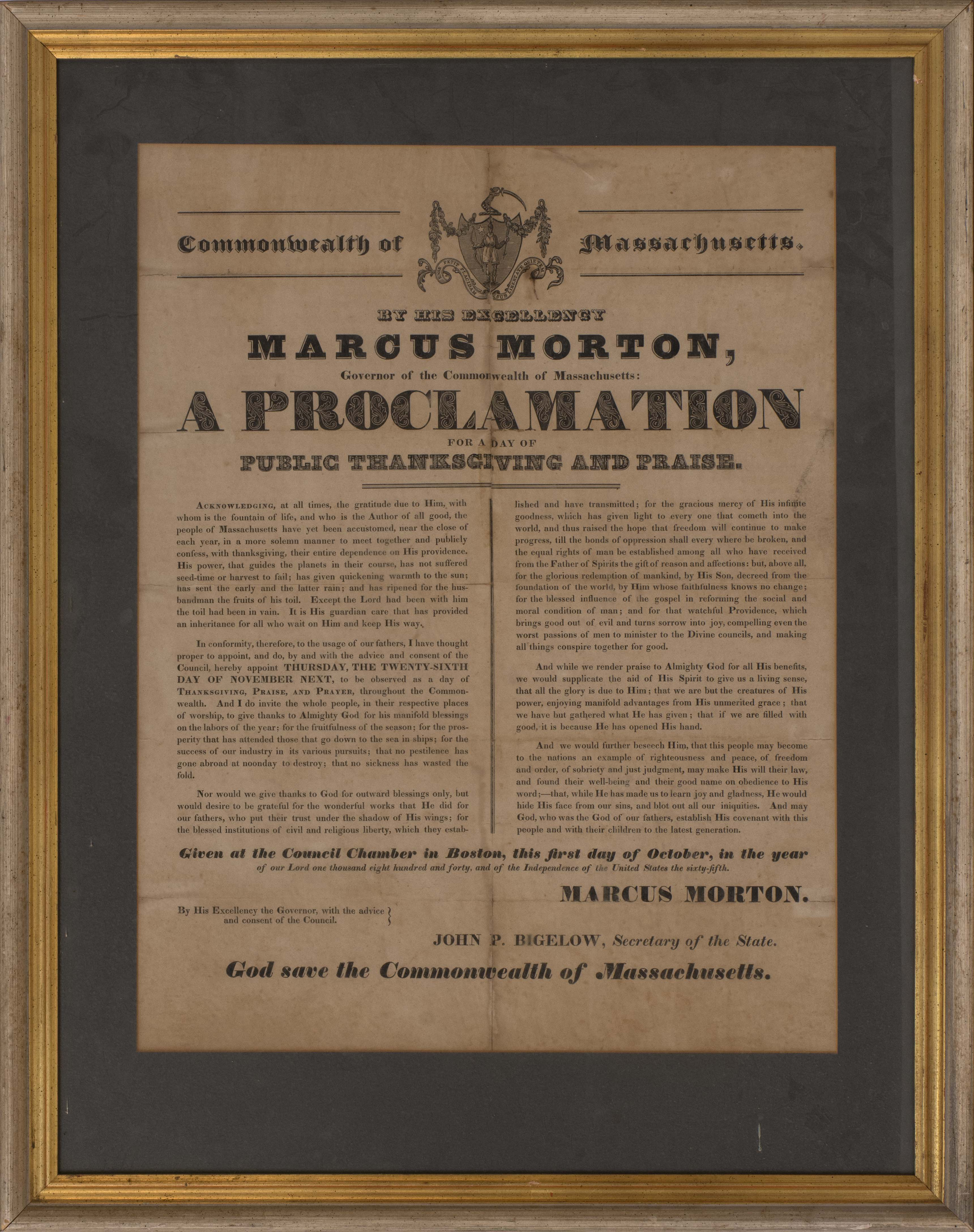 FRAMED BROADSIDE PROCLAIMING A DAY OF PUBLIC