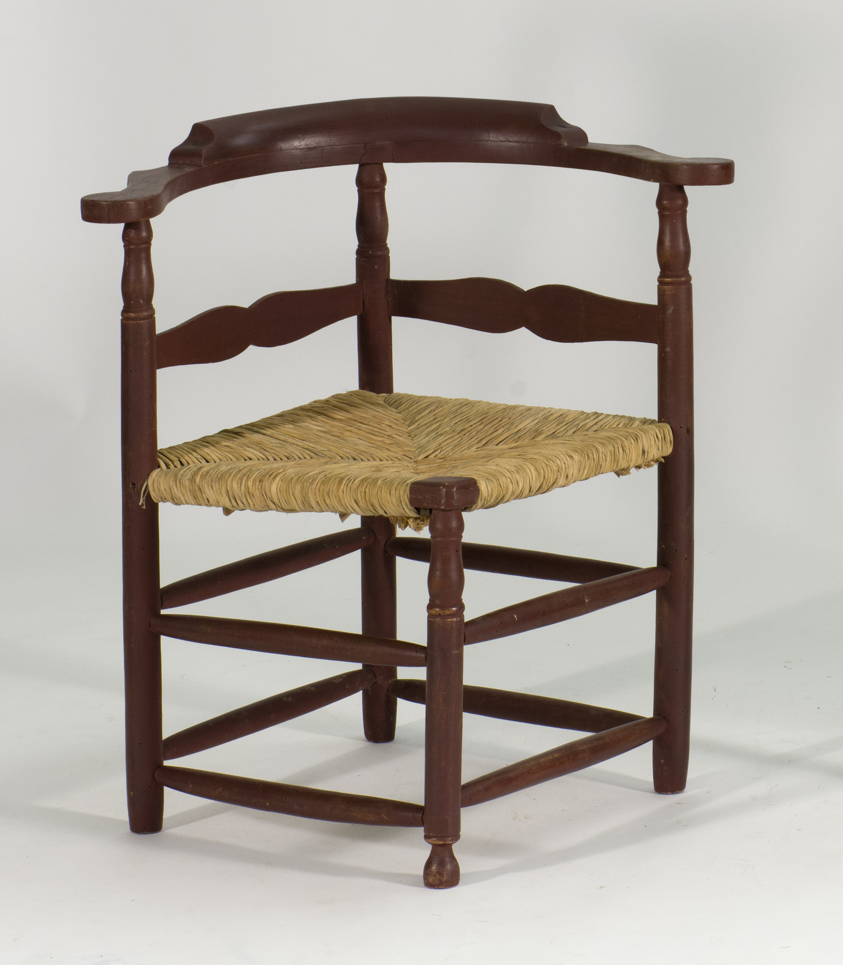 Price guide for ANTIQUE AMERICAN RUSH-SEAT CORNER CHAIR 18th