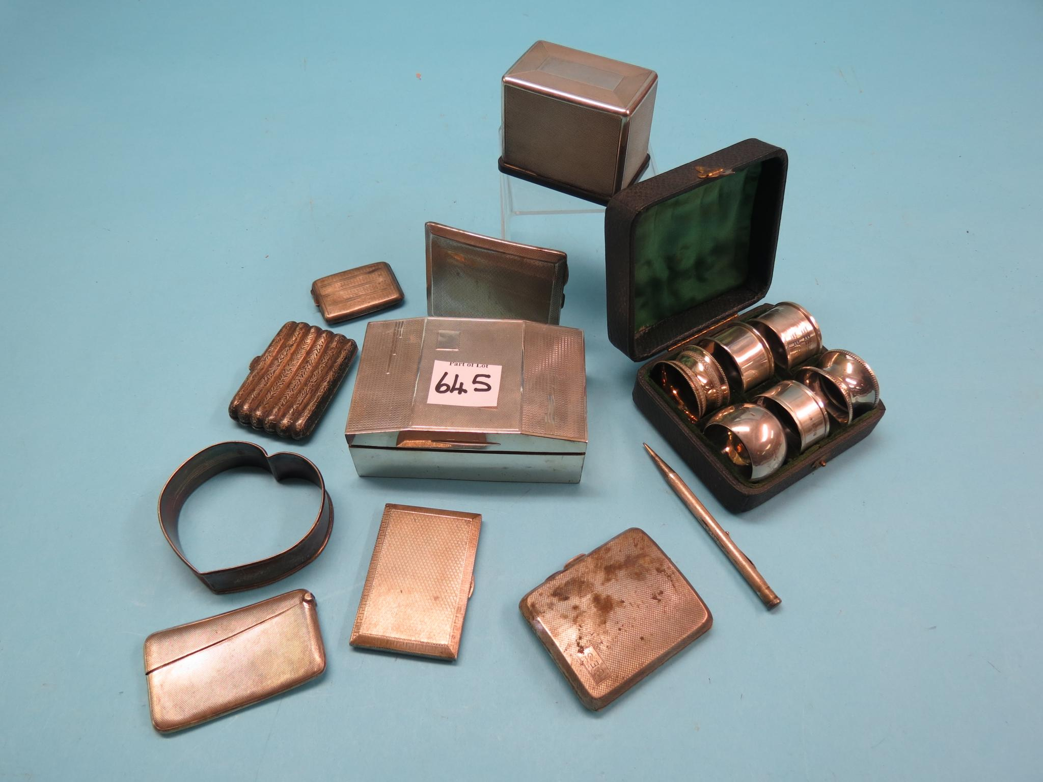Four various silver cigarette cases, silver