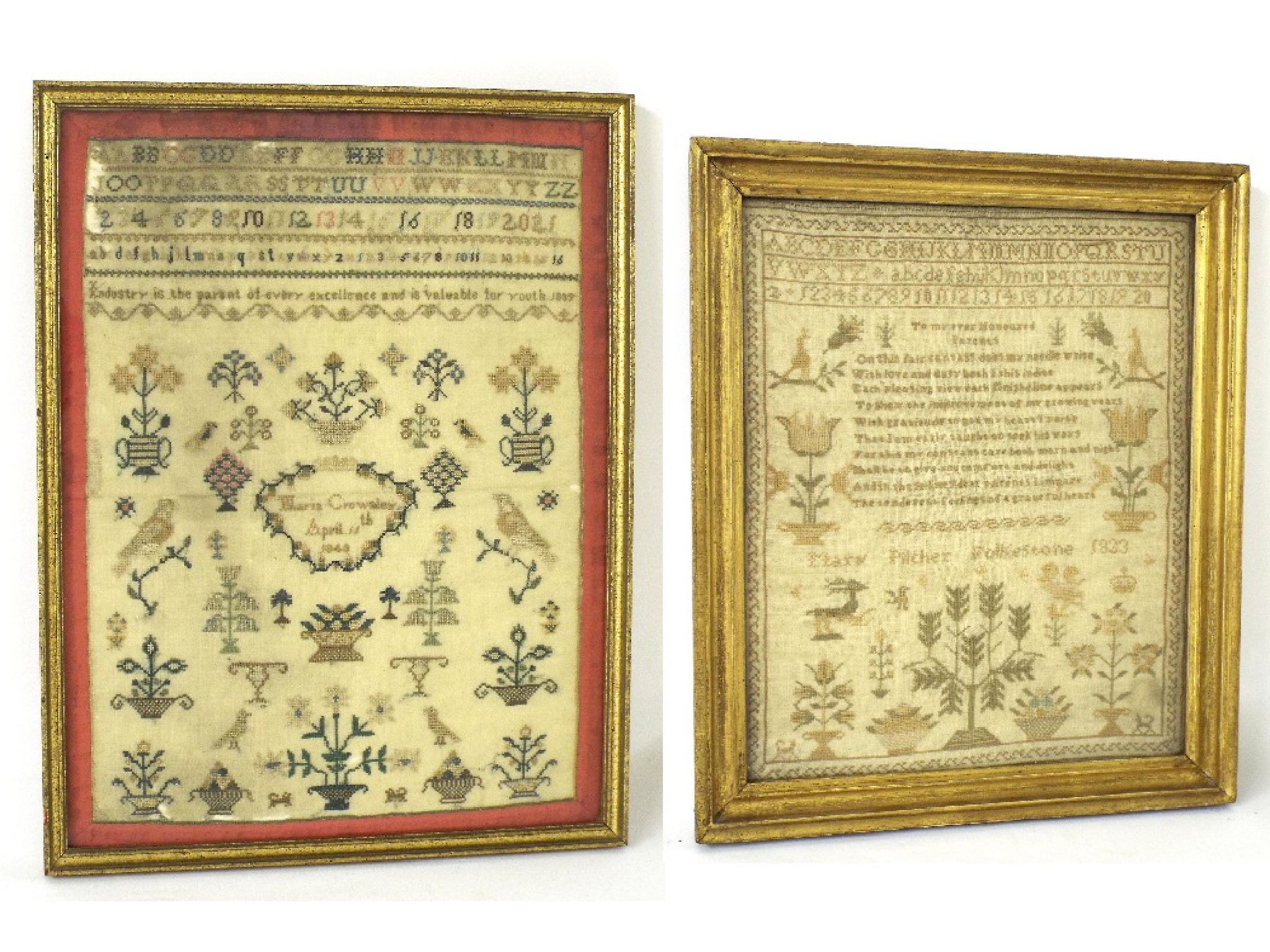 19th century woolwork tapestry by Mary Pilcher