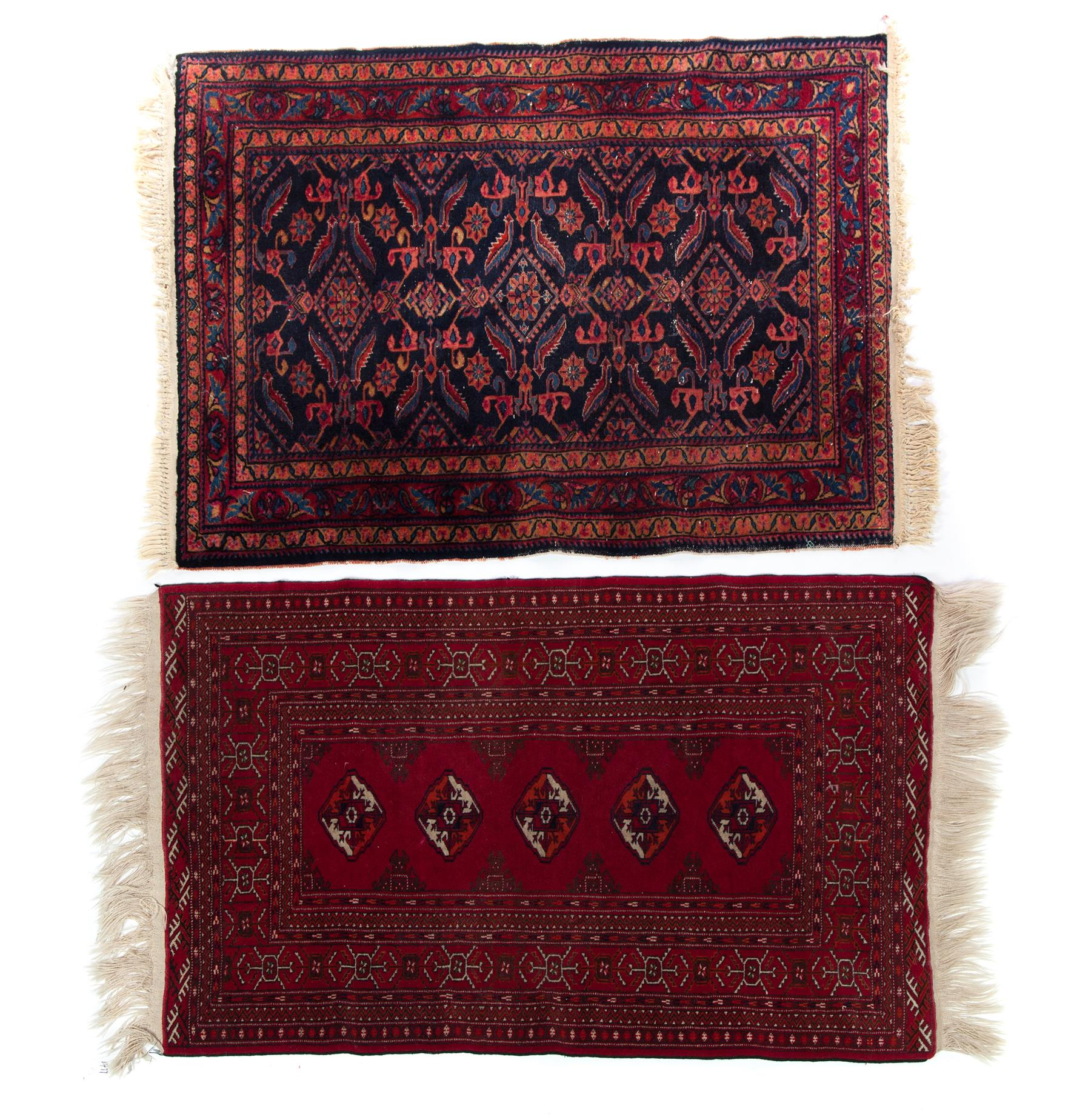 TWO GEOMETRIC AREA RUGS.  Twentieth century.