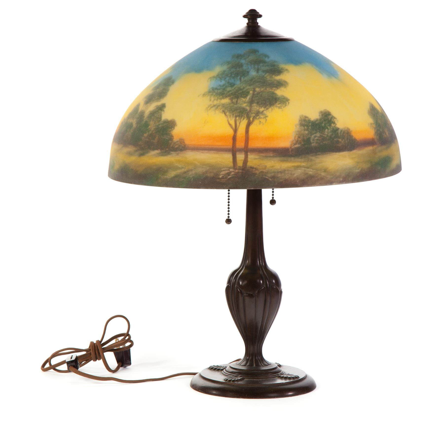 JEFFERSON REVERSE PAINTED TABLE LAMP.  American,