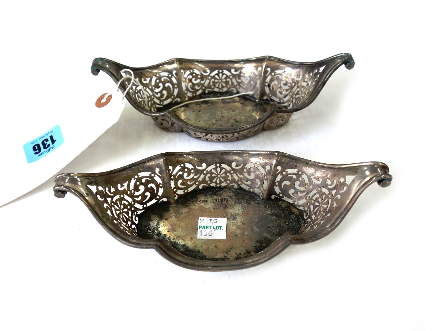 A pair of late Victorian silver sweetmeat