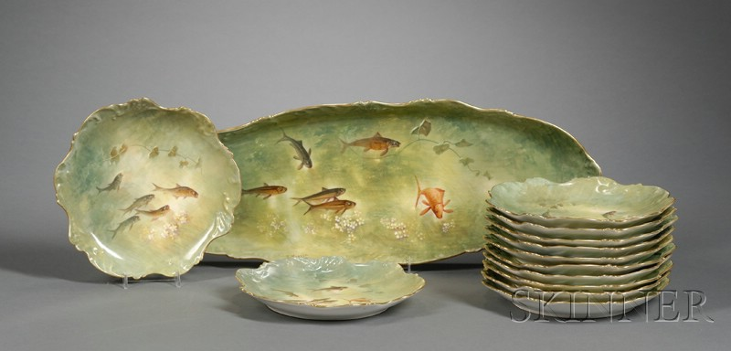 Limoges Painted Porcelain Fish Service For