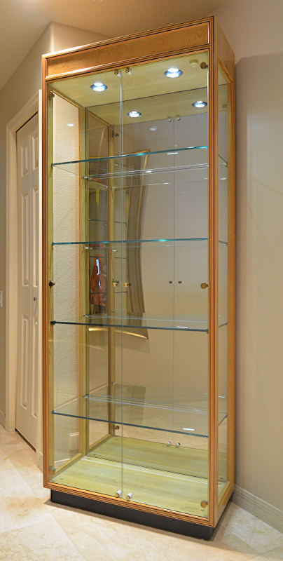Lighted Display Cabinet Light Wood Curio With Darker String Inlay And Burl Panel Accents Double Glass Doors Side Lights