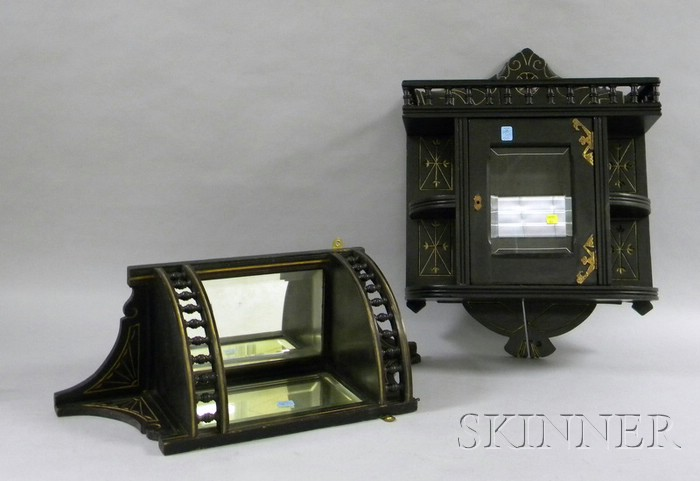 Small Victorian Ebonized Corner Wall Display