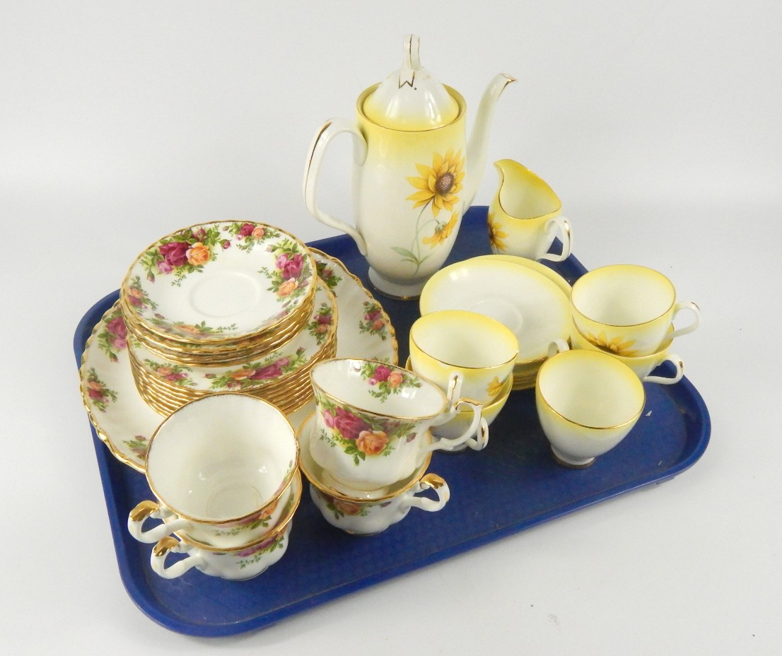 A Royal Albert porcelain part coffee service,