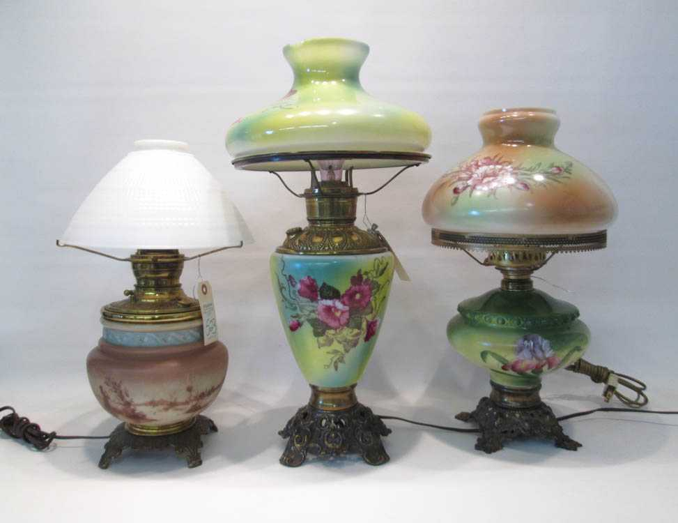 THREE ELECTRIFIED FLUID OIL TABLE LAMPS,