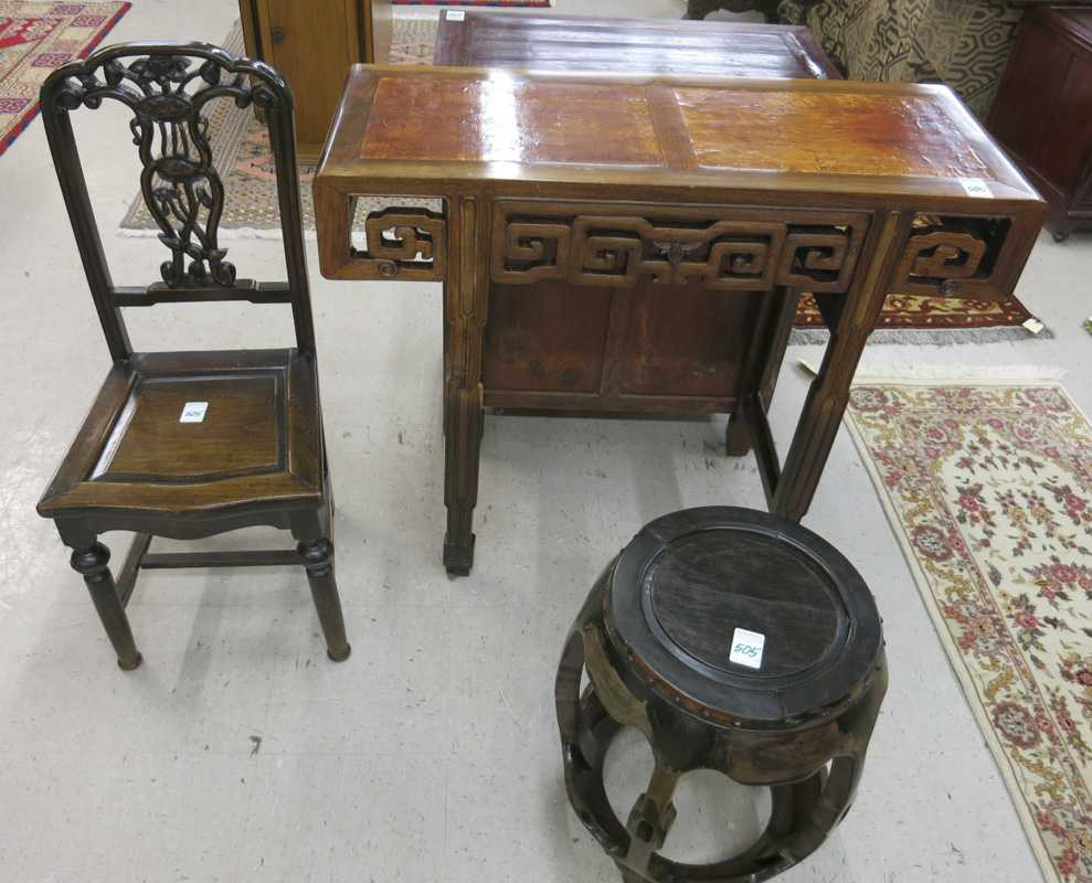 THREE ARTICLES OF CHINESE FURNITURE:  carved
