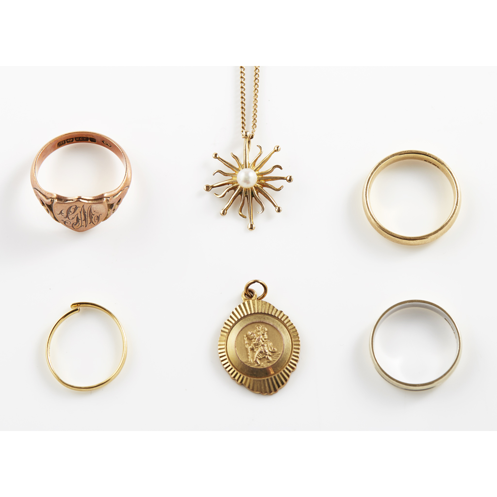 A collection of gold jewellery  to include