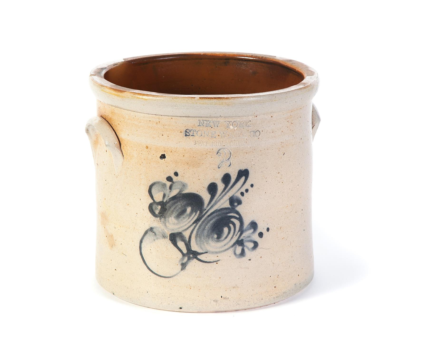 TWO-GALLON STONEWARE JAR.  American, 2nd