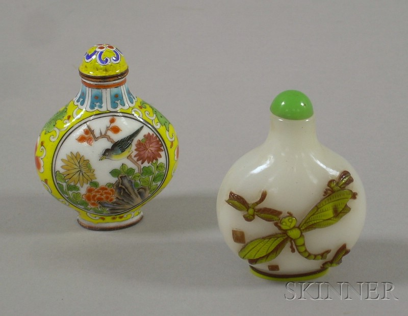 Two Asian Snuff Bottles, one carved glass