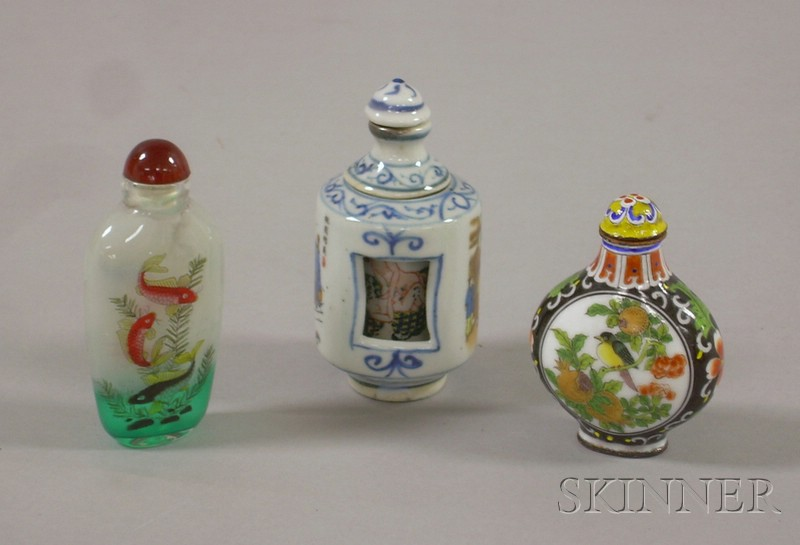 Three Asian Snuff Bottles, a blue and white