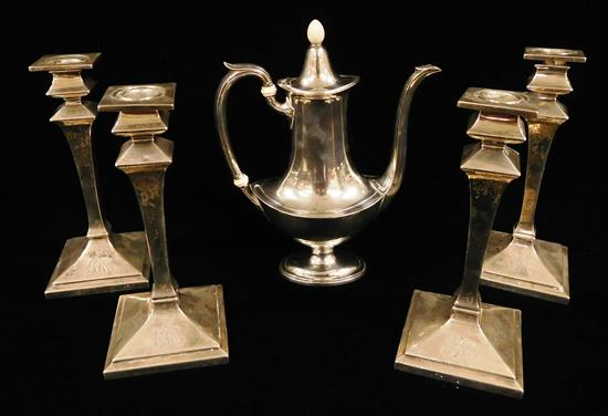 STERLING: Gorham, four matching candlesticks