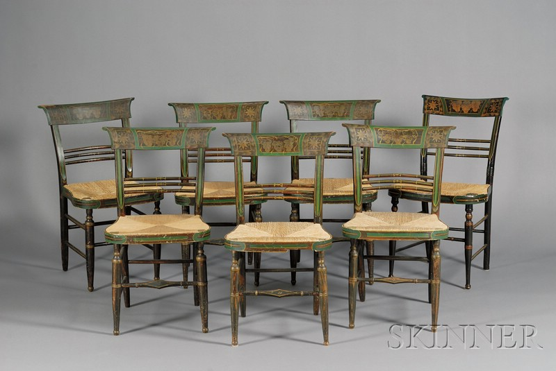 Set of Seven Classical Fancy Chairs, Worcester,