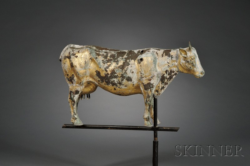 Molded Gilt Copper Cow Weather Vane, America,
