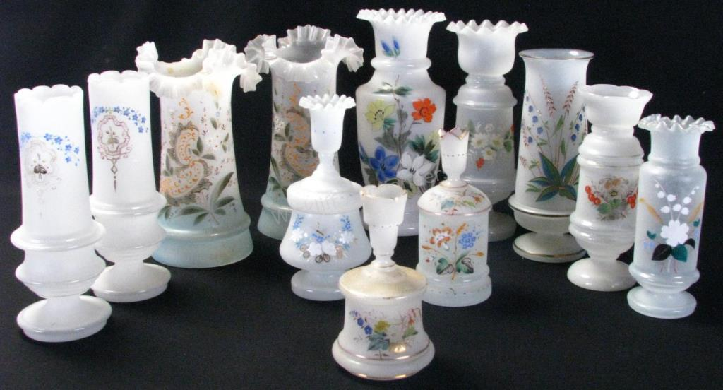 Group of Victorian Bristol Vases and Dresser