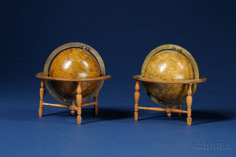 Pair of 3-inch Table Globes by Newton, the