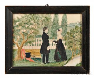 Watercolor of a Courting Couple, America,
