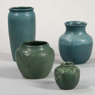 Three Hampshire Vases and a Van Briggle Pottery