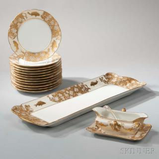 Limoges Porcelain Fish Set, France, late