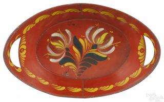 Red toleware bread tray, 19th c., retaining