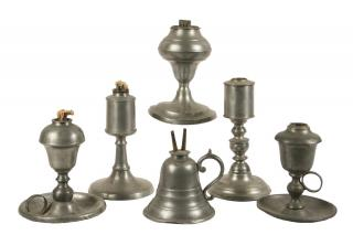 (6) PEWTER LAMPS Collection of (6) 19th c.