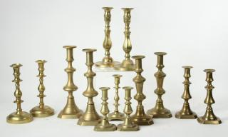 (13) 19TH C. BRASS CANDLESTICKS Collection