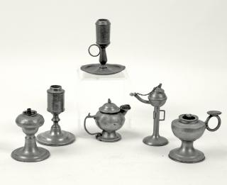 (6) MINIATURE PEWTER LAMPS Collection of