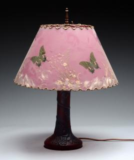 Van Briggle Pottery Lamp with Satin Glass