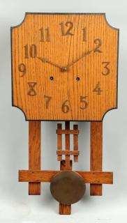 Mission Style Oak Wall Clock. Pair of Limbert