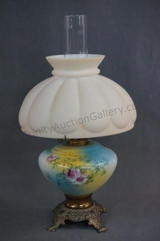 ABCO No. 2 Handpainted Glass Oil Lamp ca.1950's