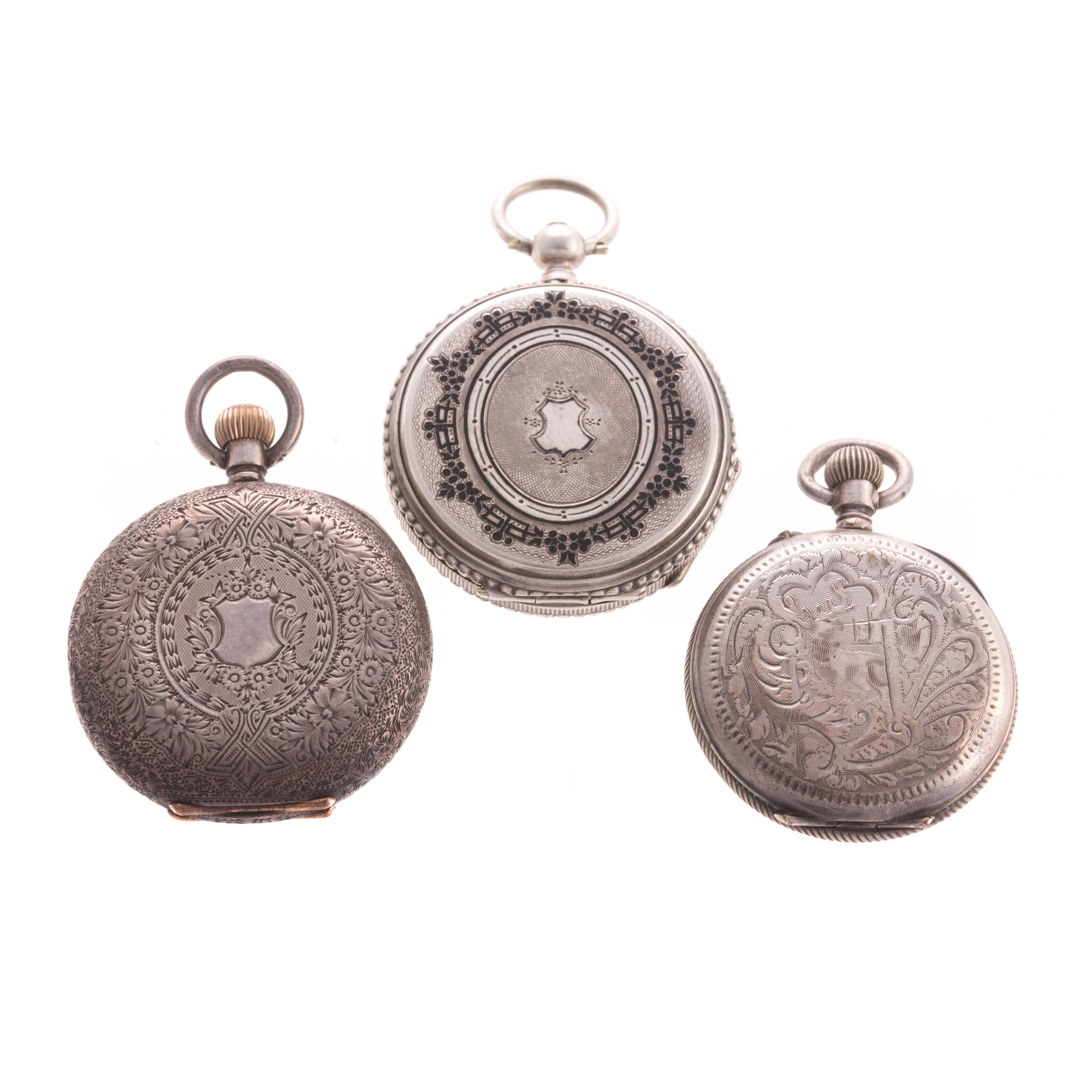 A Trio of Swiss Silver Pocket Watches 1)