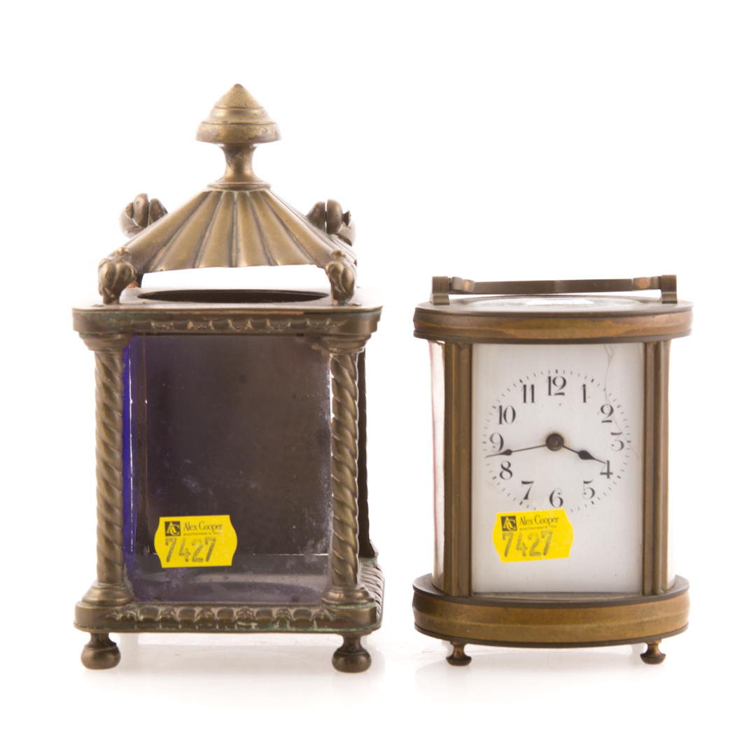 French brass carriage clock and a clock case