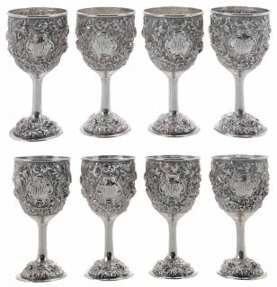 Set of Eight Stieff Rose Repousse Sterling