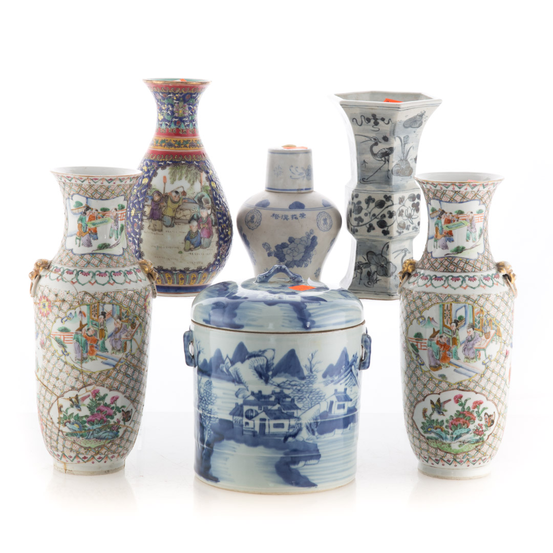 Six Chinese porcelain items including: pair