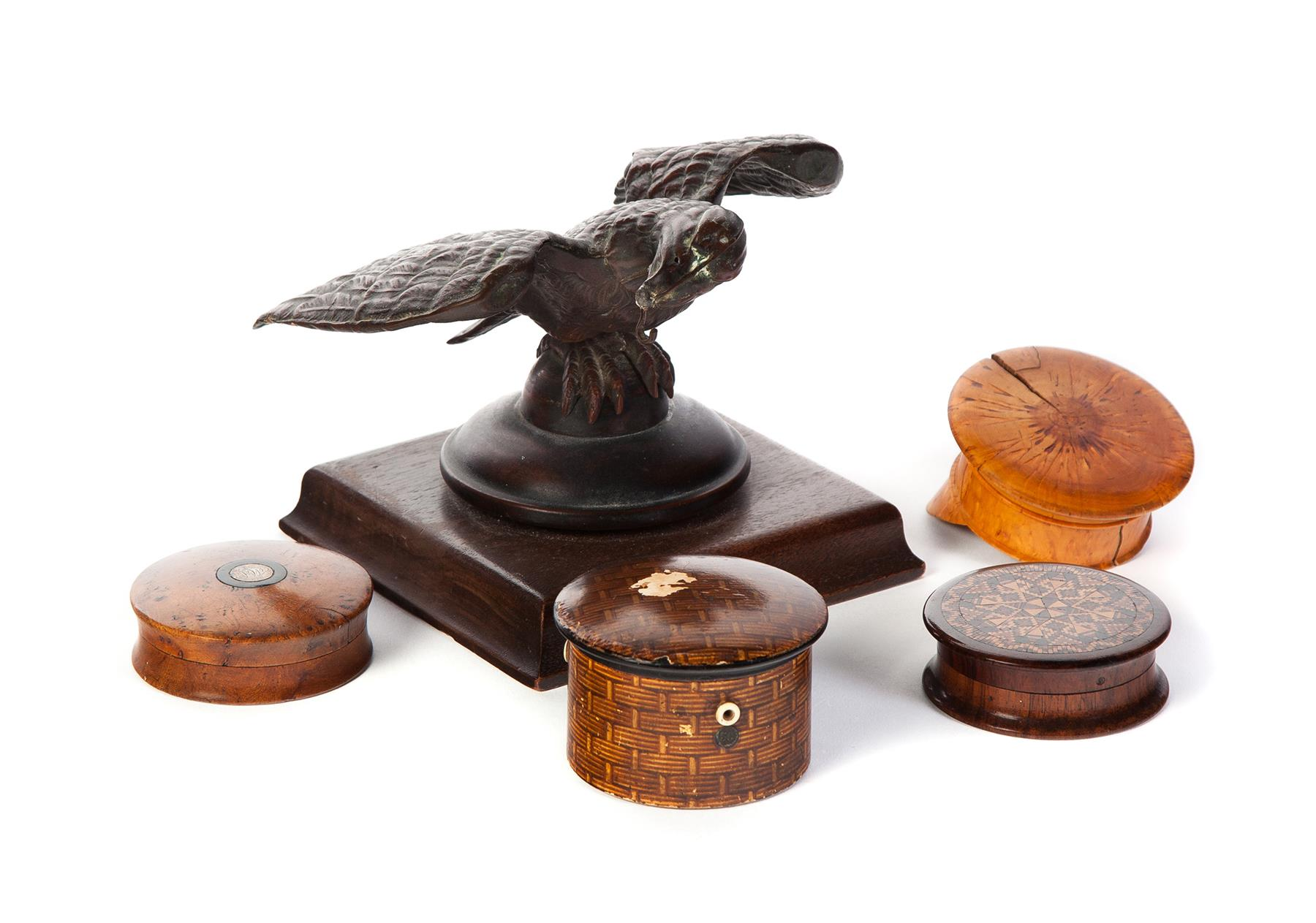 FOUR KEEPERS BOXES AND AN EAGLE WATCH HUTCH.
