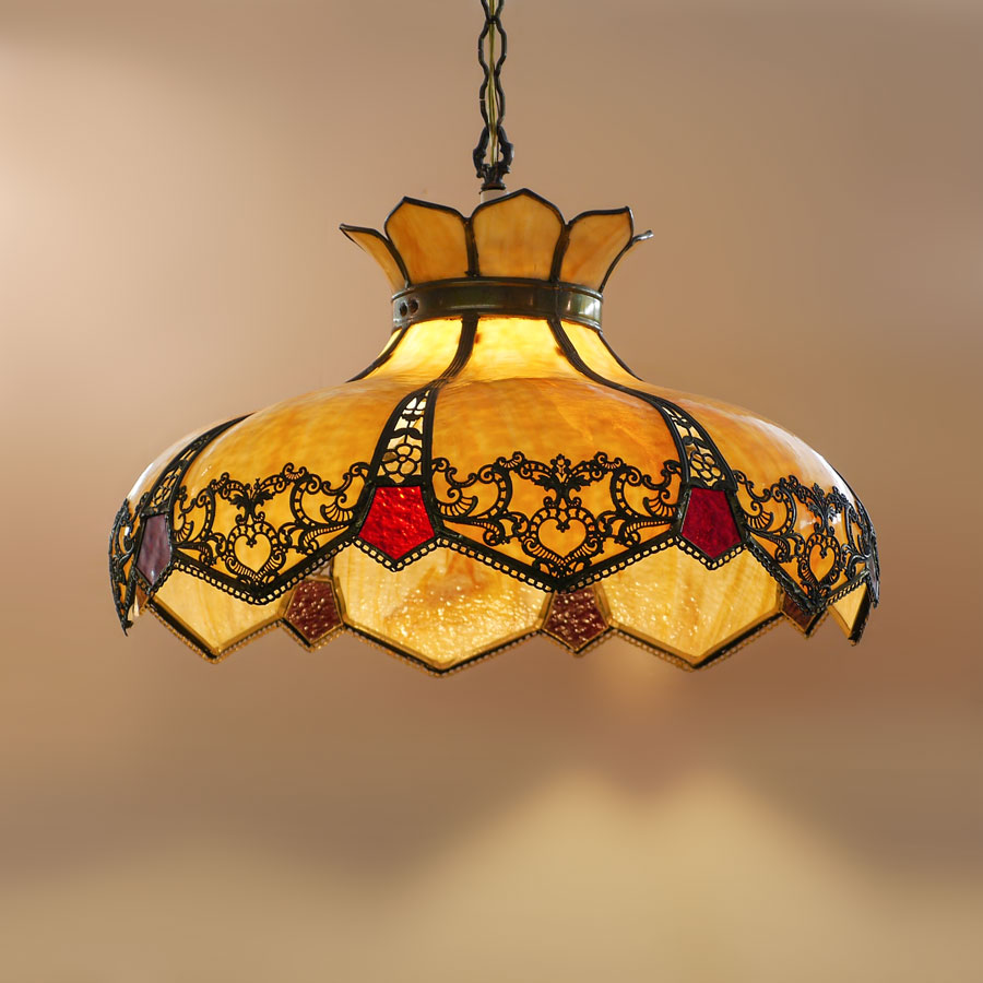 CARAMEL SLAG GLASS BENT PANEL HANGING LAMP: