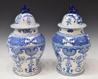 (2) CHINESE BLUE & WHITE PORCELAIN TEMPLE
