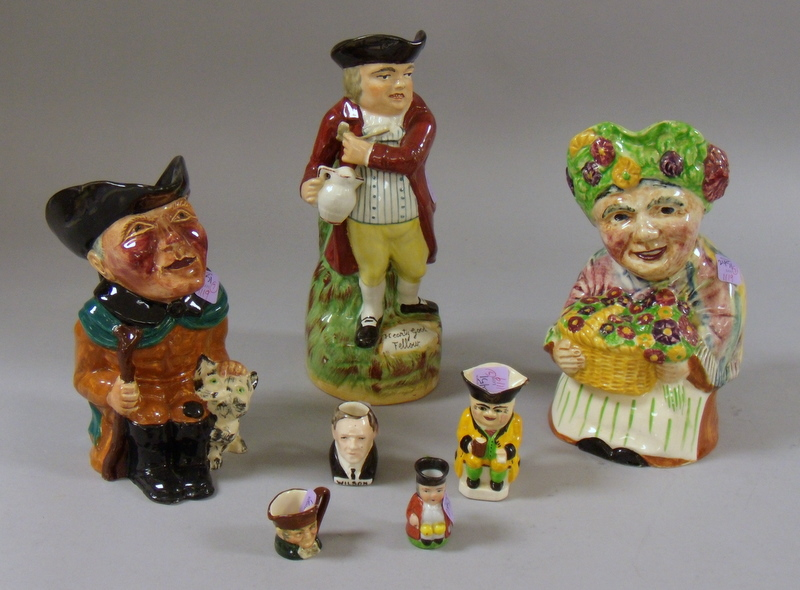 Five Collectible Ceramic Toby Jugs and Two