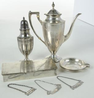 Nine Pieces Sterling Table Items  American,