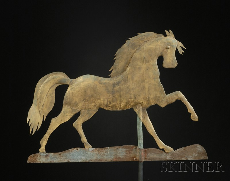 "Gilt Copper Prancing ""Arabian"" Horse Weather"
