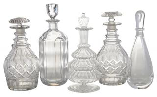 Five Crystal Decanters  American, English