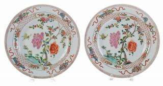 Three Chinese Export Famille Rose  Plates 18th