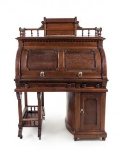 A Wooton Patent Walnut Rotary Desk Height