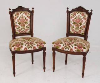 PAIR OF FRENCH LOUIS XV CARVED WALNUT FAUTEUILS