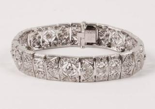 14K WHITE GOLD DIAMOND BRACELET  14K WHITE