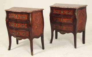 PAIR OF FRENCH LOUIS XV STYLE INLAID MARBLE