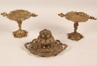3 PIECE GILT BRONZE DESK SET CONSISTING OF